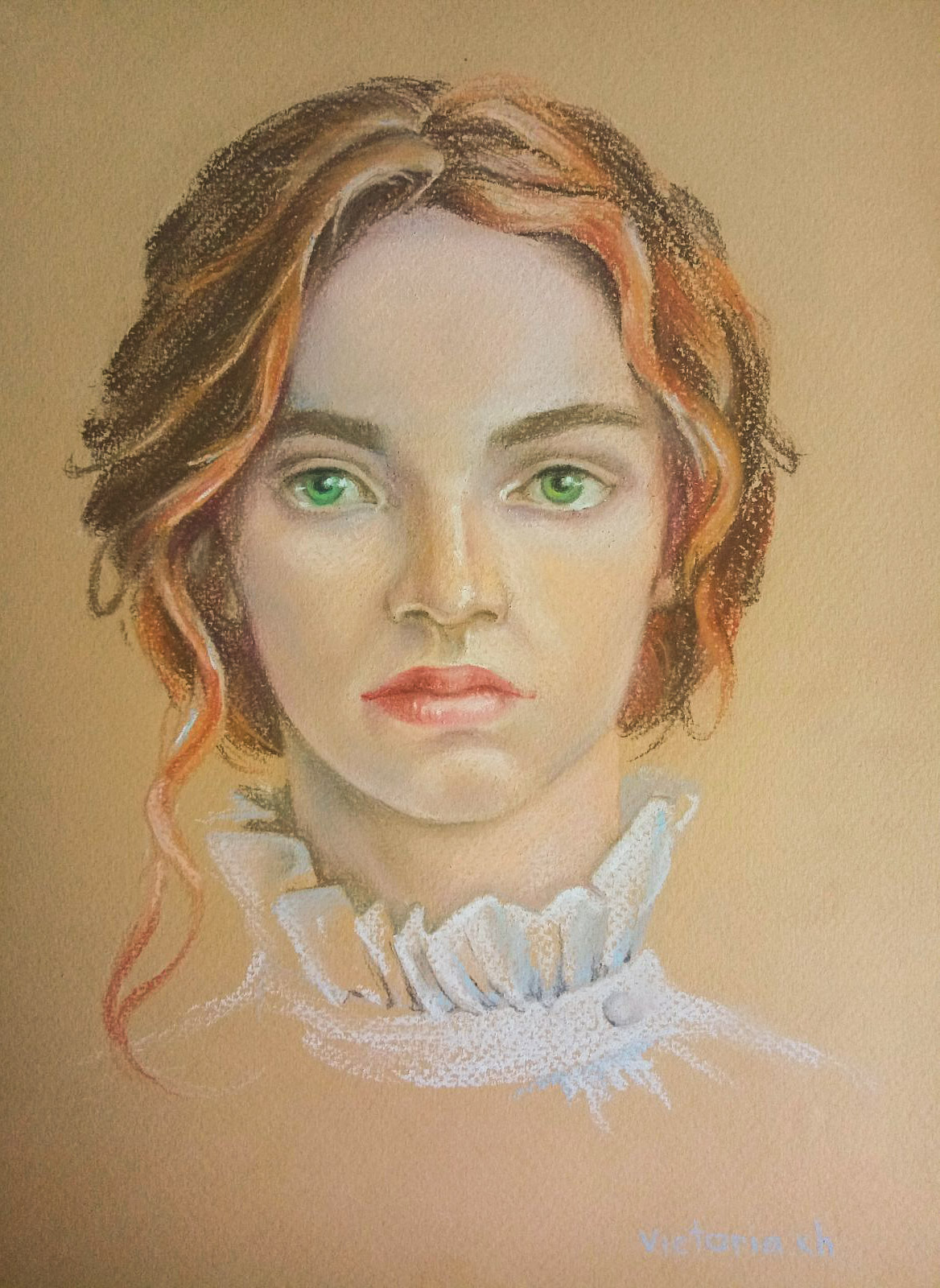 Portrait of a girl with a white collar